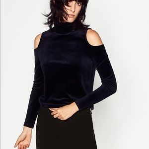 Zara Knit Cold Shoulder Velvet Sweater Black